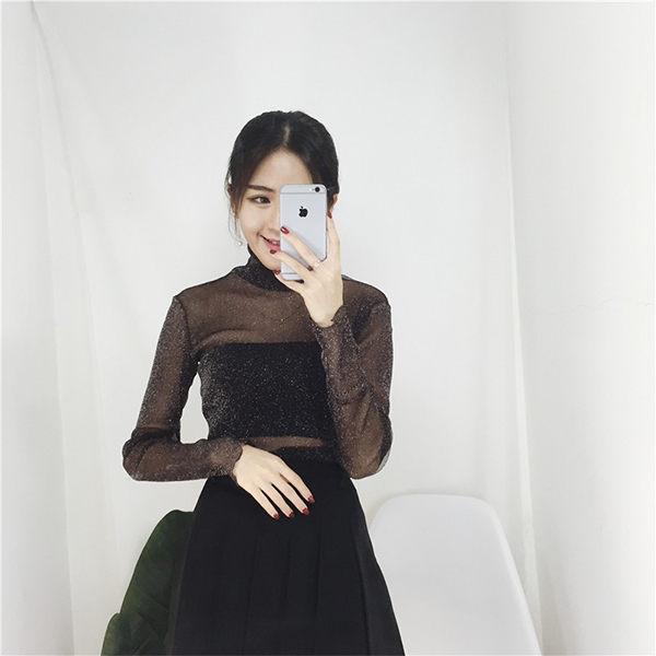 PS Mall  網紗薄款長袖透視內搭性感百搭T恤 上衣【T174】