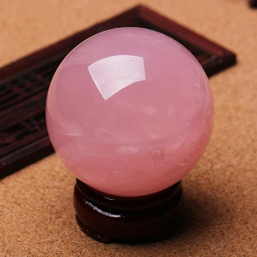 水晶球 開光天然粉水晶球擺件粉晶球擺件助愛情水晶粉色促姻緣  igo聖誕免運 0