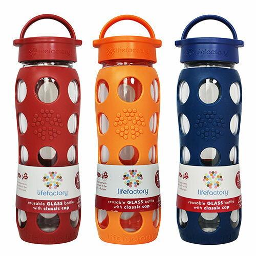 美國唯樂【Lifefactory】 繽紛彩色玻璃水瓶-22oz 【紅】