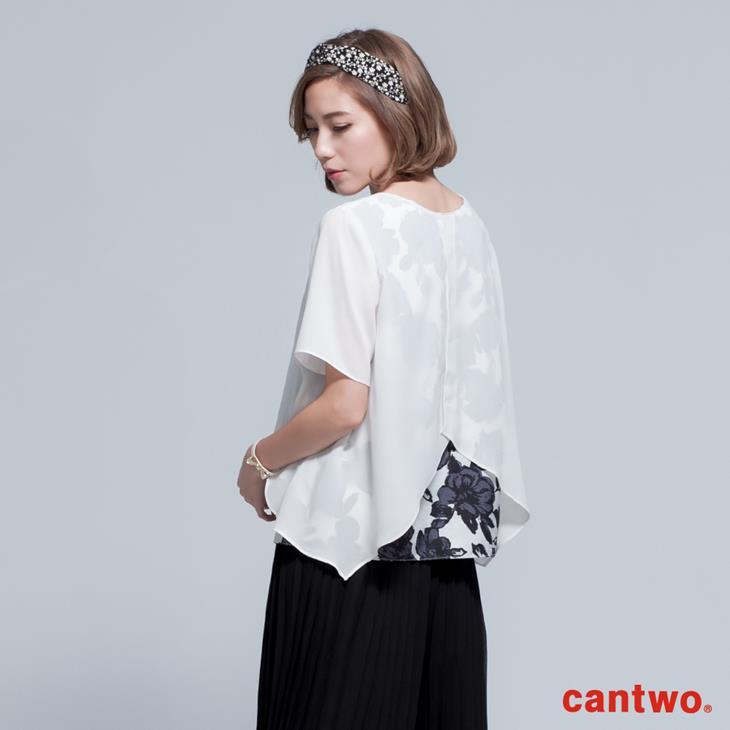 cantwo透視風印花假兩件雪紡上衣(共二色) 2