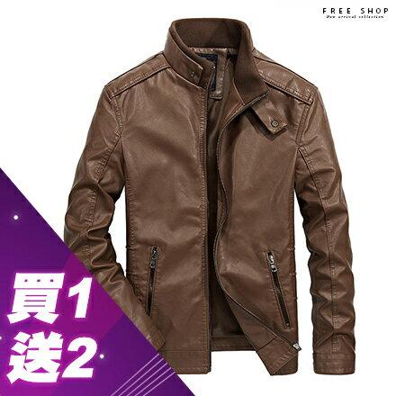 Free Shop 買一送二(圍巾+上衣) 袖口拉鍊設計質感內裡立領皮衣外套 加大尺碼 黑色咖啡【QTJSBL1303】
