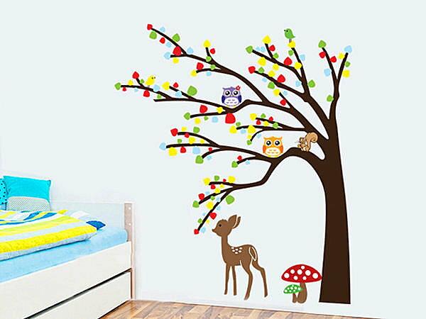 BO雜貨:BO雜貨【YV3849】創意可移動壁貼牆貼背景貼兒童房壁貼組合時尚壁貼貓頭鷹梅花鹿