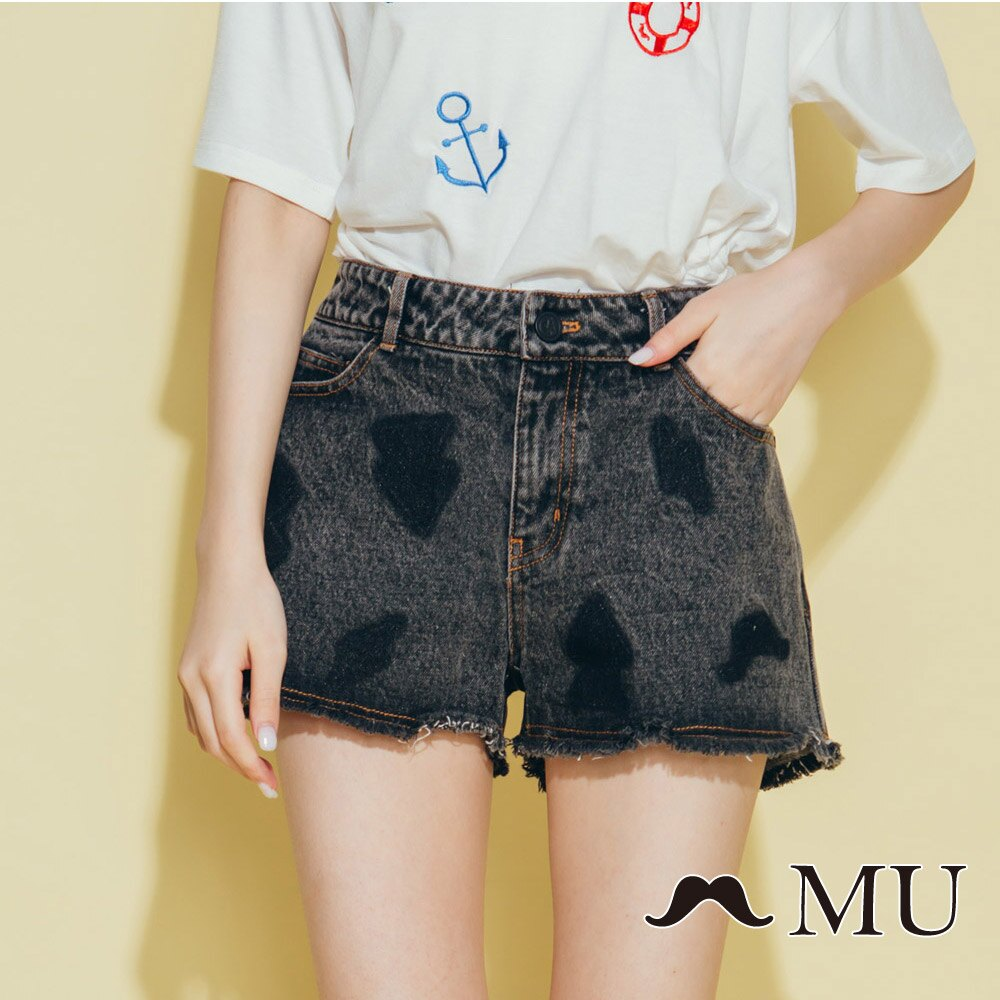 【MU】符號刷色抽鬚牛仔丹寧短褲(2色)8325161 5