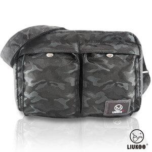 LIUKOO戰地叢林迷彩系列 ~ 雙口袋 防潑水中容量側背包 ~~神秘黑~