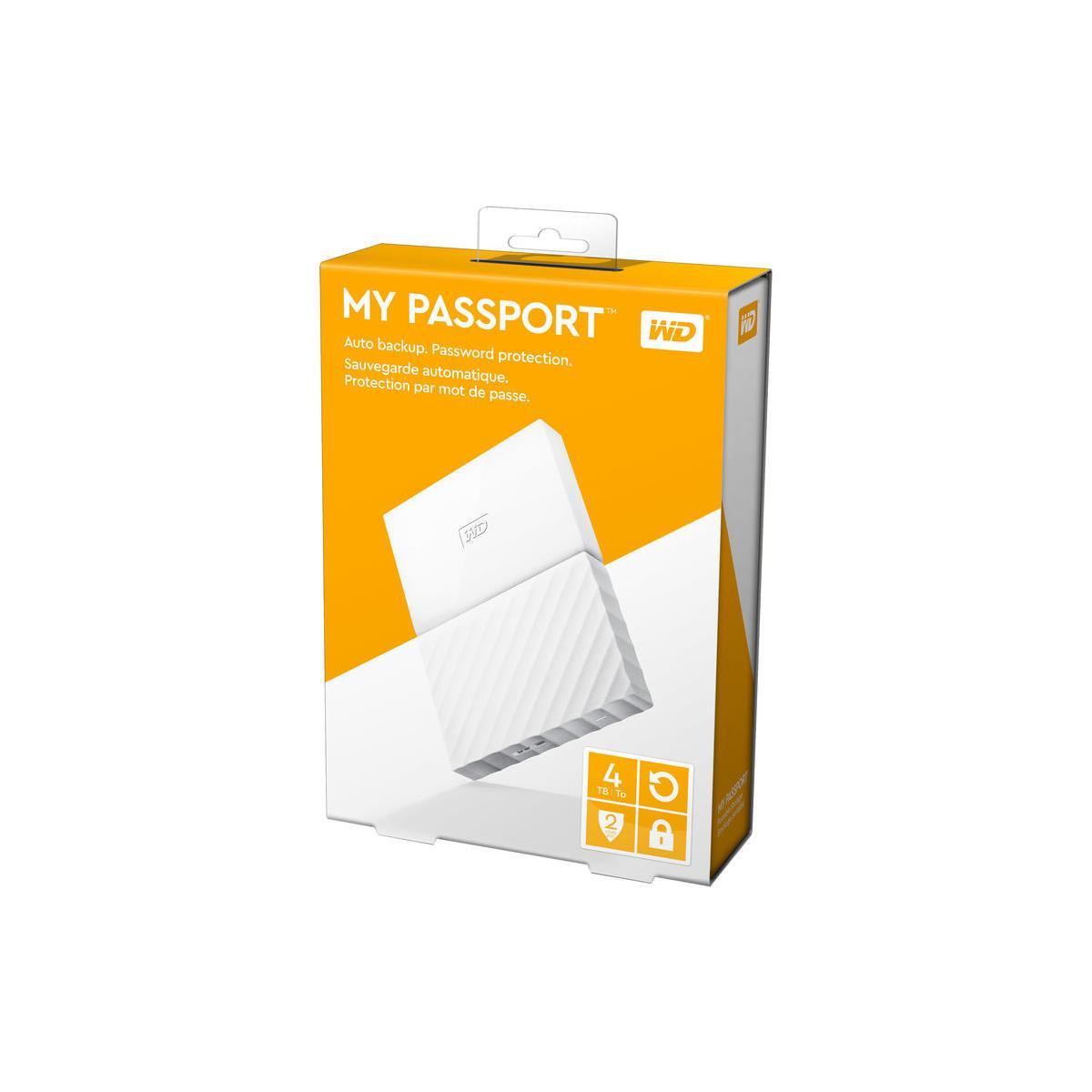 WD My Passport WDBYFT0040BWT-WESN 4 TB External Hard Drive - USB 3.0 - Portable - White - 256-bit Encryption Standard 2