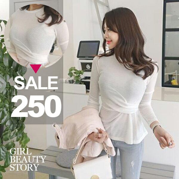 SISI【L8034】韓版清新淑女圓領薄款皺褶長袖顯曲線T恤上衣