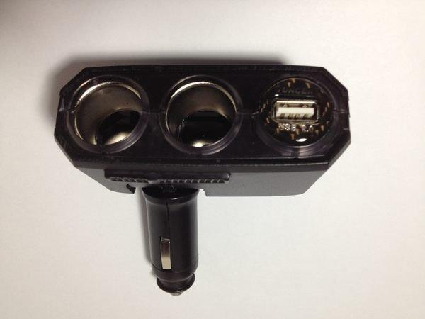 權世界@汽車用品 折疊式 USB+2孔點煙器 電源插座擴充器 LED藍光 直插可調式 SR-313