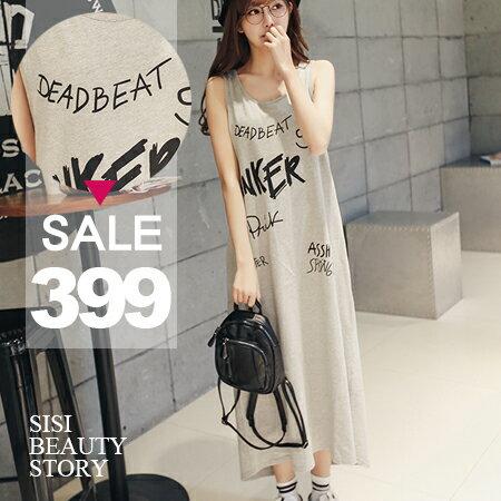 SISI~D6160~ 圓領無袖背心寬鬆前短後長塗鴉英文字母印花背心裙連身裙長裙洋裝