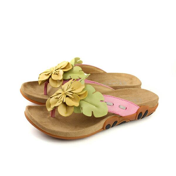 Kimo夾腳拖鞋花朵女鞋黃色K18SF041117no748