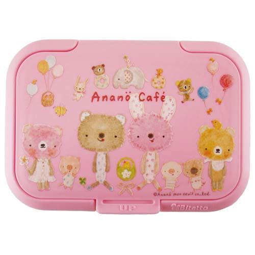 日本 Bitatto Anano Cafe 重覆黏濕紙巾專用盒蓋(大) 粉紅色 *夏日微風*