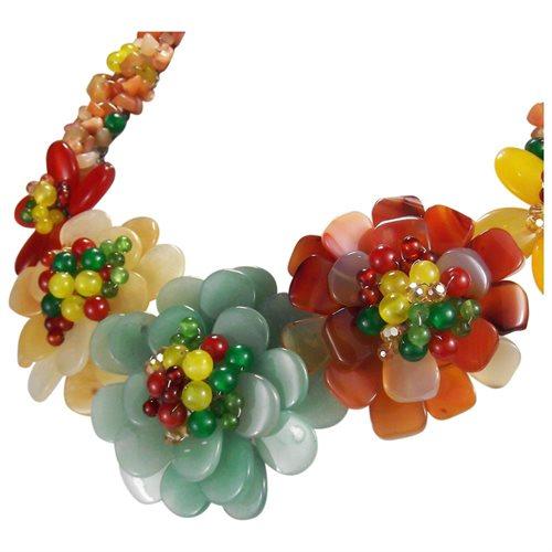 Multicolor Genuine Semiprecious Flower Garland Necklace 2