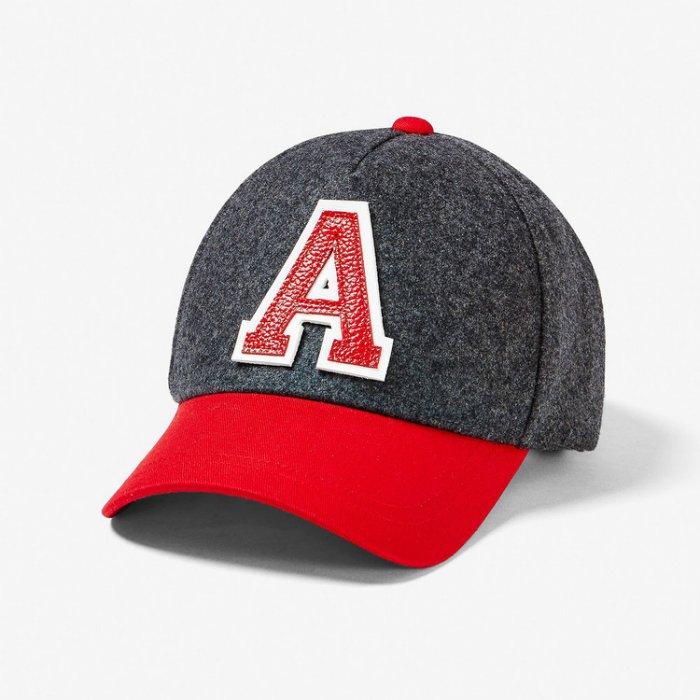 美國百分百【全新真品】Armani Exchange 棒球帽 AX 帽子 遮陽帽 毛呢 羊毛 logo 灰紅 H707