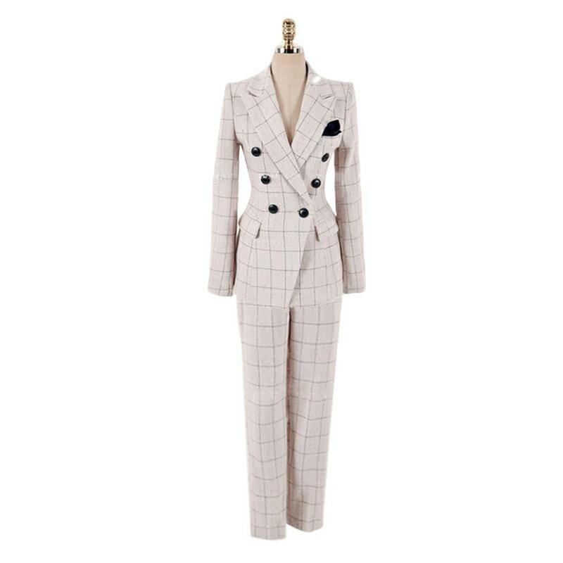 西裝套裝西裝外套+長褲(兩件套)-雙排扣格紋時尚氣質女西服73xs10【獨家進口】【米蘭精品】