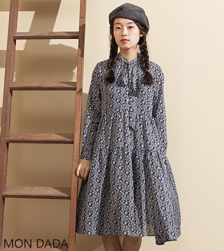【Mondada】6052.綻放的向日葵印花洋裝.【日系】【洋裝】【上班族】