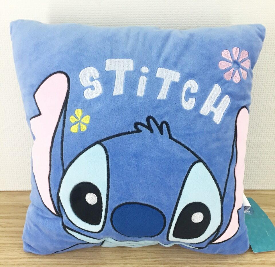 【真愛日本】16031900007電繡四方抱枕-ST臉2款 迪士尼 星際寶貝 史迪奇 抱枕 靠枕 正品
