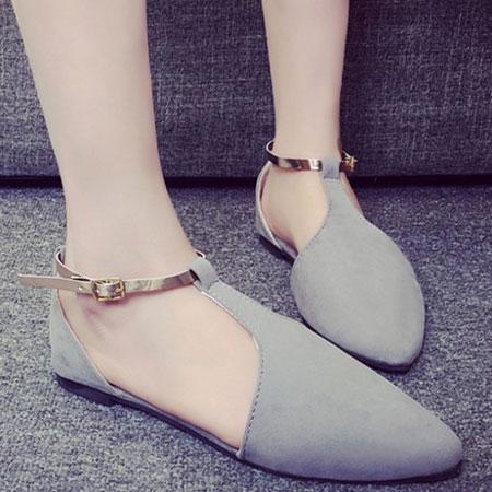 涼鞋 甜美側簍空金屬繫帶平底涼鞋【S1603】☆雙兒網☆ 3