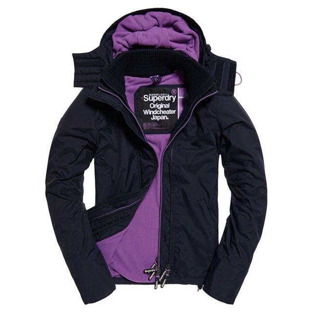 極度乾燥 Superdry 經典基本款 紫色內裡深藍色外套 防風外套 防潑水 黑標 女款