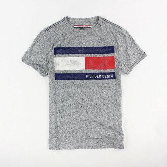 美國百分百【Tommy Hilfiger】T恤 TH 男 圓領 T-shirt 短袖 短T logo 灰色XS S L號 H764