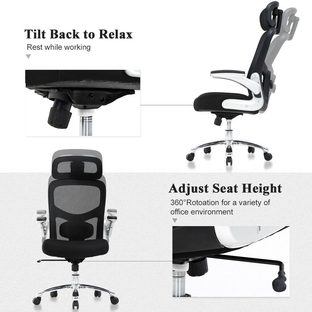 Wondrous Big And Tall Office Chair 500Lbs Wide Seat Executive Desk Chair With Lumbar Support Flip Up Arms Headrest High Back Computer Chair Ergonomic Mesh Gamerscity Chair Design For Home Gamerscityorg