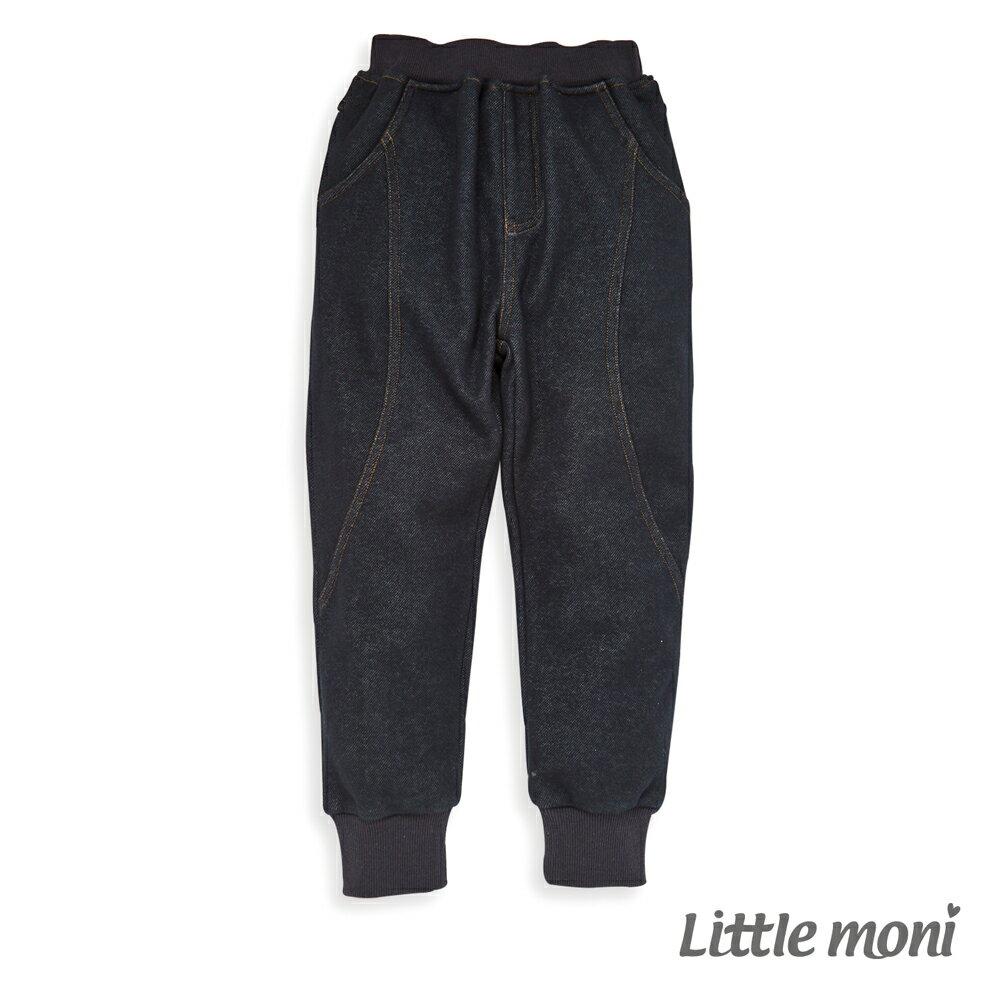 Little moni 內刷绒仿牛仔針織長褲-深藍(好窩生活節) 0