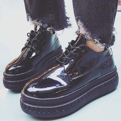 厚底鞋 日系漆皮綁帶圓頭厚底鞋【S1457】☆雙兒網☆ 4