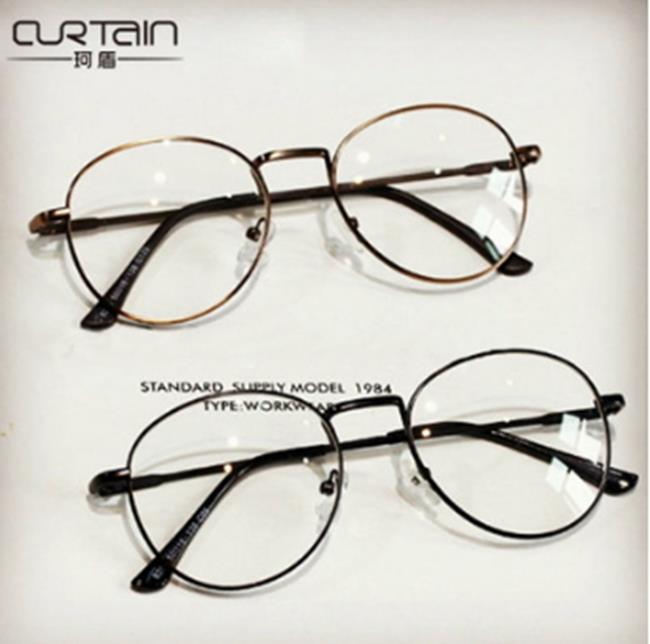 50%OFF【J011437Gls】韓版金屬細邊框眼鏡框9254 圓形女款文藝範潮男士眼鏡架附眼鏡盒