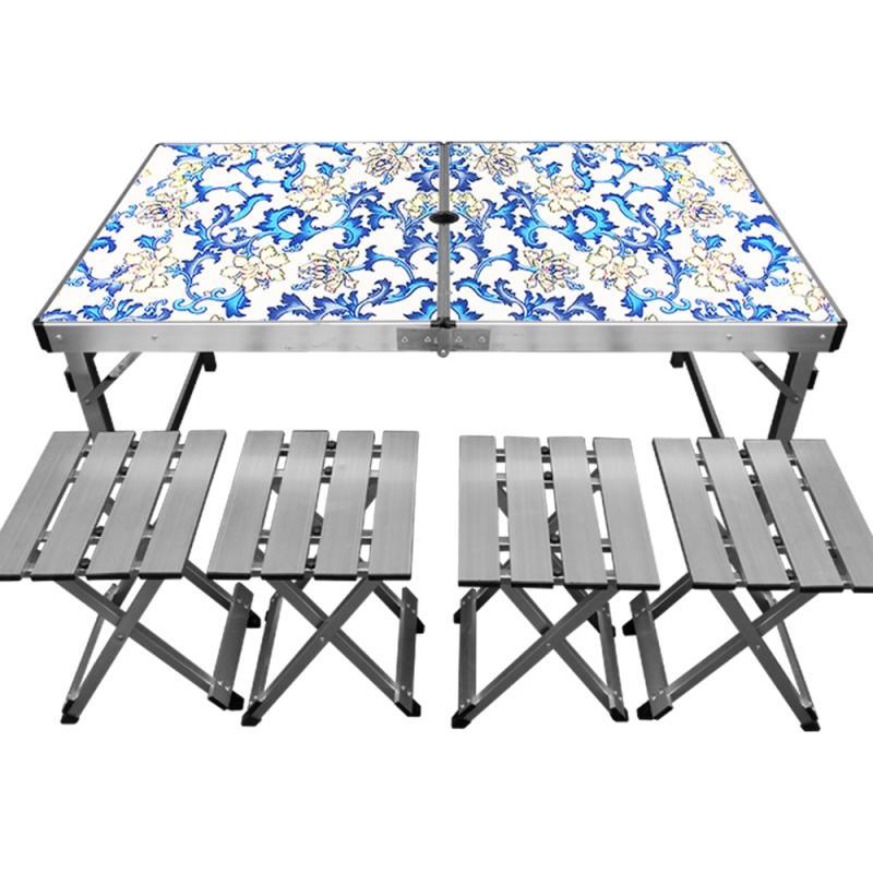 【野道家】Outdoorbase 鋁合金折疊桌椅組(一桌四椅) - 可調式露營桌.野餐桌.料理桌.折合桌- 25483