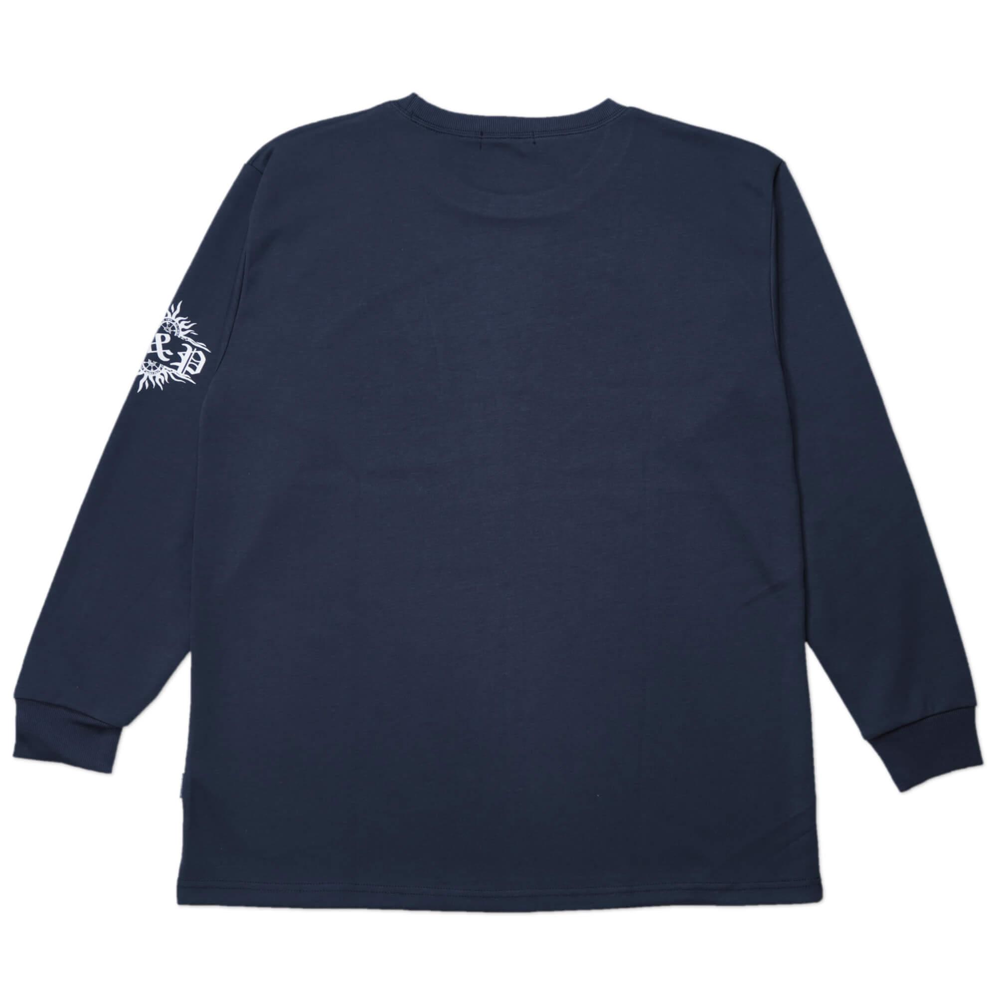 加大尺碼台灣製長袖T恤 哥德體英文字彈性圓領T恤 T-shirt 長袖上衣 休閒長TEE 藍色T恤 黑色T恤 MADE IN TAIWAN NAVY BLUE BIG_AND_TALL (310-0860-08)海軍藍、(310-0860-21)黑色 4L 6L(胸圍52~57英吋) [實體店面保障] sun-e 2