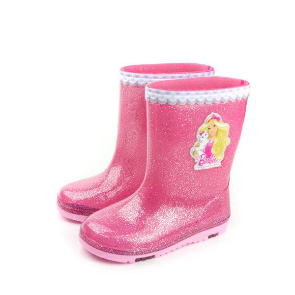 Barbie 芭比 雨鞋 雨靴 防水 雨天 桃紅色 亮粉 中童 BR7803 no631