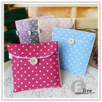 【aife life】棉麻點點衛生棉收納包/衛生棉收納袋/貼身收納包/布質/方便攜帶/衛生棉袋/衛生綿包/面紙包