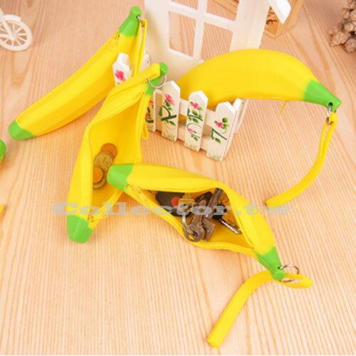 【G14121301】韓版超萌黃色香蕉矽膠筆袋零錢包 收納包 創意包