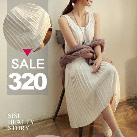 SISI~D6048~百搭單品圓領無袖棉質背心拼接百褶雪紡連身裙洋裝
