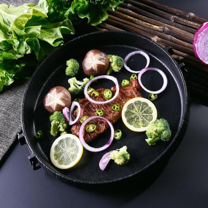 鑄鐵電磁爐烤盤鐵板燒鐵板商用圓形家用燃氣燒烤盤
