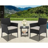 Outdoor Furniture Patio Sofa Set Wicker Rattan Sectional 3 pcs Garden Conversation Set with Cushion and Tempered Glass Tabletop for Yard