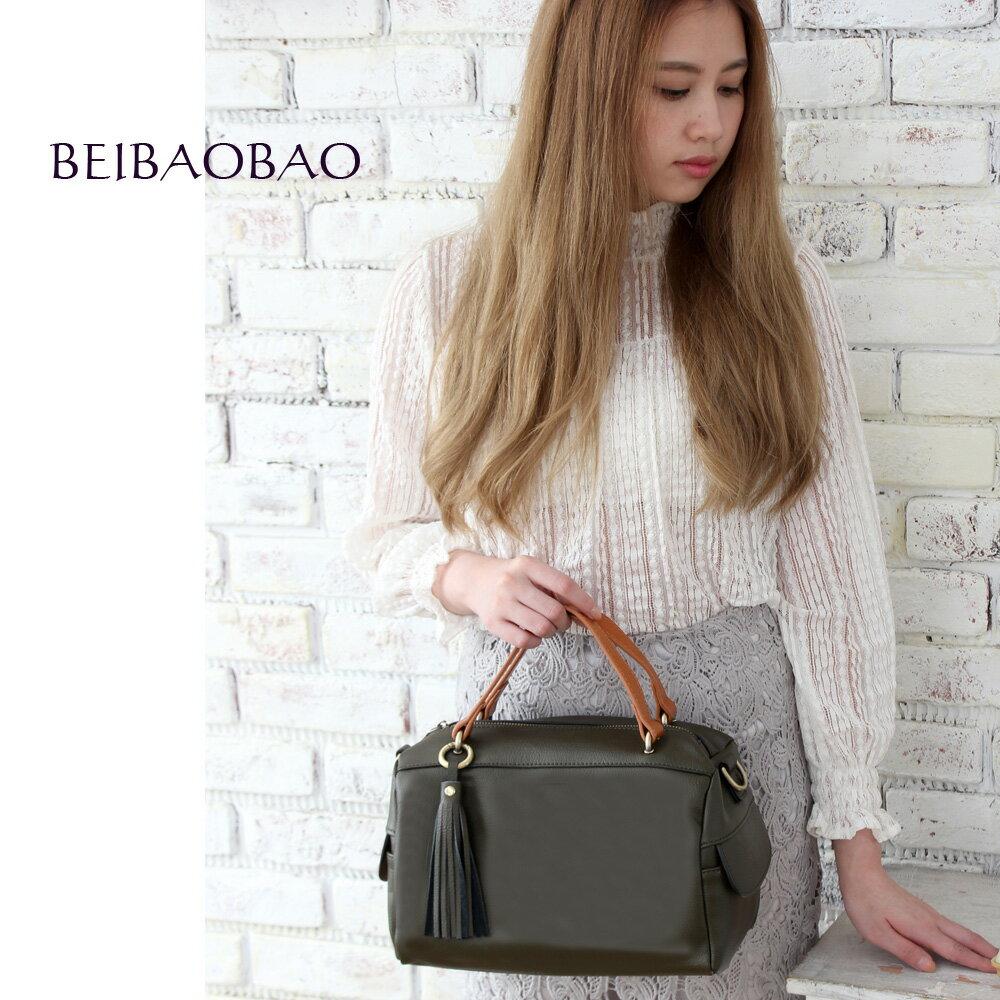 【BEIBAOBAO】法式甜美流蘇真皮側背包(共三色 灰橄綠) 0