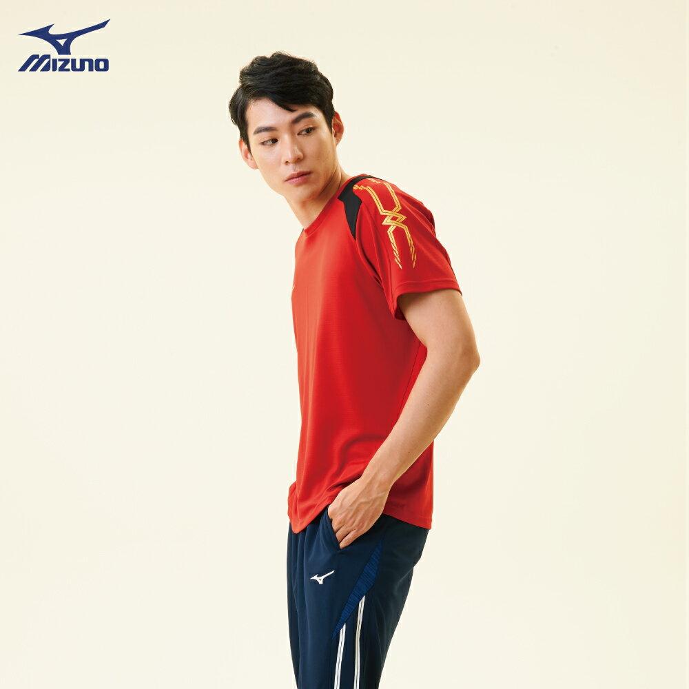 32TA800362(紅)抗紫外線吸汗快乾材質 男短袖T恤【美津濃MIZUNO】 2