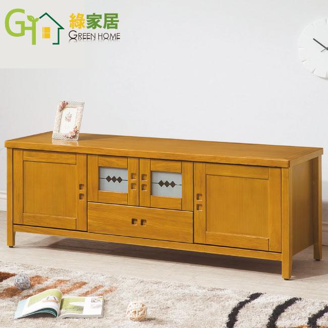 【綠家居】胡納 檜木紋5尺實木收納櫃/電視櫃(二抽屜+四門櫃設計)