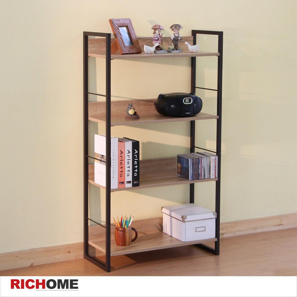 RICHOME居家生活館 里斯特3D木紋四層架(咖啡鐵管)  四層架/ 置物架/ 書架【SH480-1】RICHOME