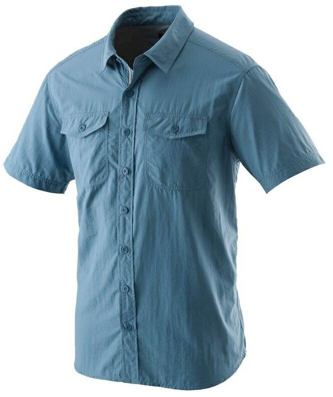 【【蘋果戶外】】荒野 W1206-77 中藍色 WildLand 男 可調節抗UV素面長袖襯衫 不黏膩休閒襯衫 輕薄 透氣 快乾 襯衫外套 防曬外套 團體服裝