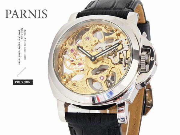 【完全計時】手錶館│PARNIS軍錶風格 極緻鏤空雕花手動上鍊43mm l 底蓋鏤空 PA4004-2 金色款
