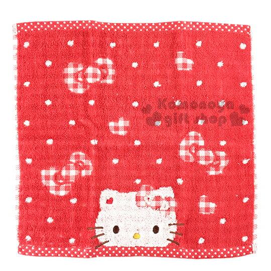 〔小禮堂〕 Kitty 日本內野Uchino方形毛巾《紅.大臉.點點.格紋蝴蝶結》34x34cm