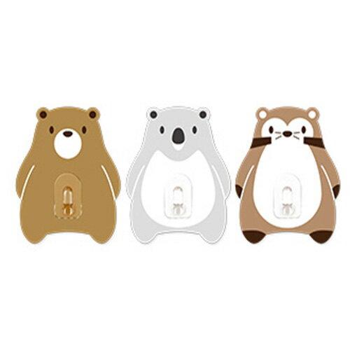 2EASY造型單掛鉤組 3入/組-咖啡熊