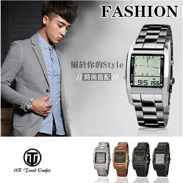 【手錶】OTS簡約時尚夜光LED休閒系列腕錶/電子錶/雙顯錶