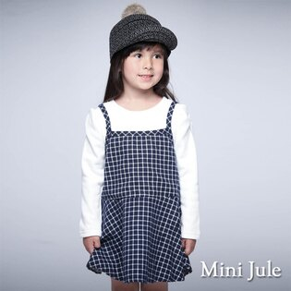 Azio Kids美國派:《MiniJule童裝》洋裝不倒絨假兩件格紋吊帶裙洋裝(藍)