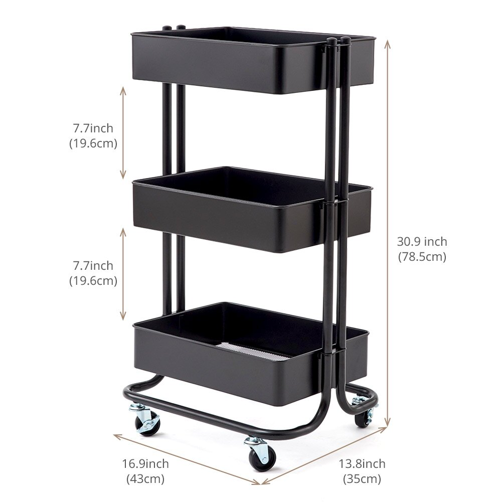 3 Tier Heavy Duty Storage Organizer Standing Shelf, EZOWare Multifunction  Metal Mesh Basket Rolling