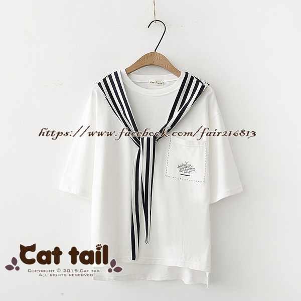 《貓尾巴》TS-0527學院風條紋綁帶短袖上衣(森林系日系棉麻文青清新)