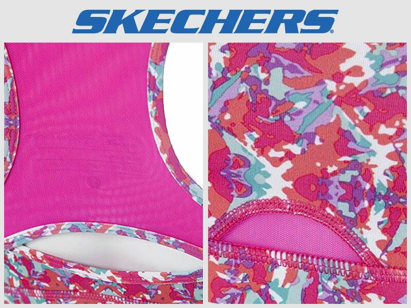 Shoestw【GWPBR678MULT】SKECHES 運動內衣 彈性排汗衣 桃紅花卉 透氣 1