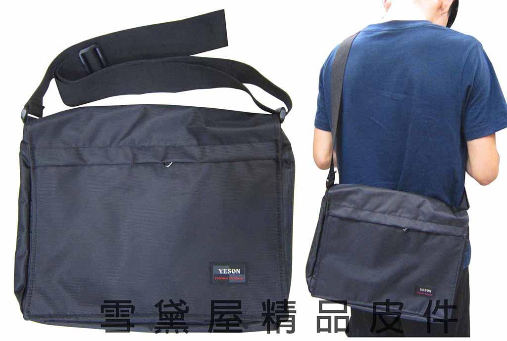 ^~雪黛屋^~YESON書包肩側包可A4資料夾 輕量高單數防水尼龍布 底部可加大容量耐磨耐