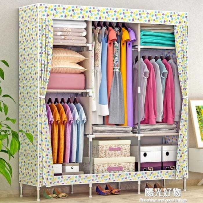 衣櫃衣櫥簡易 大號布鋼管加粗加固鋼架布藝摺疊收納櫃 1