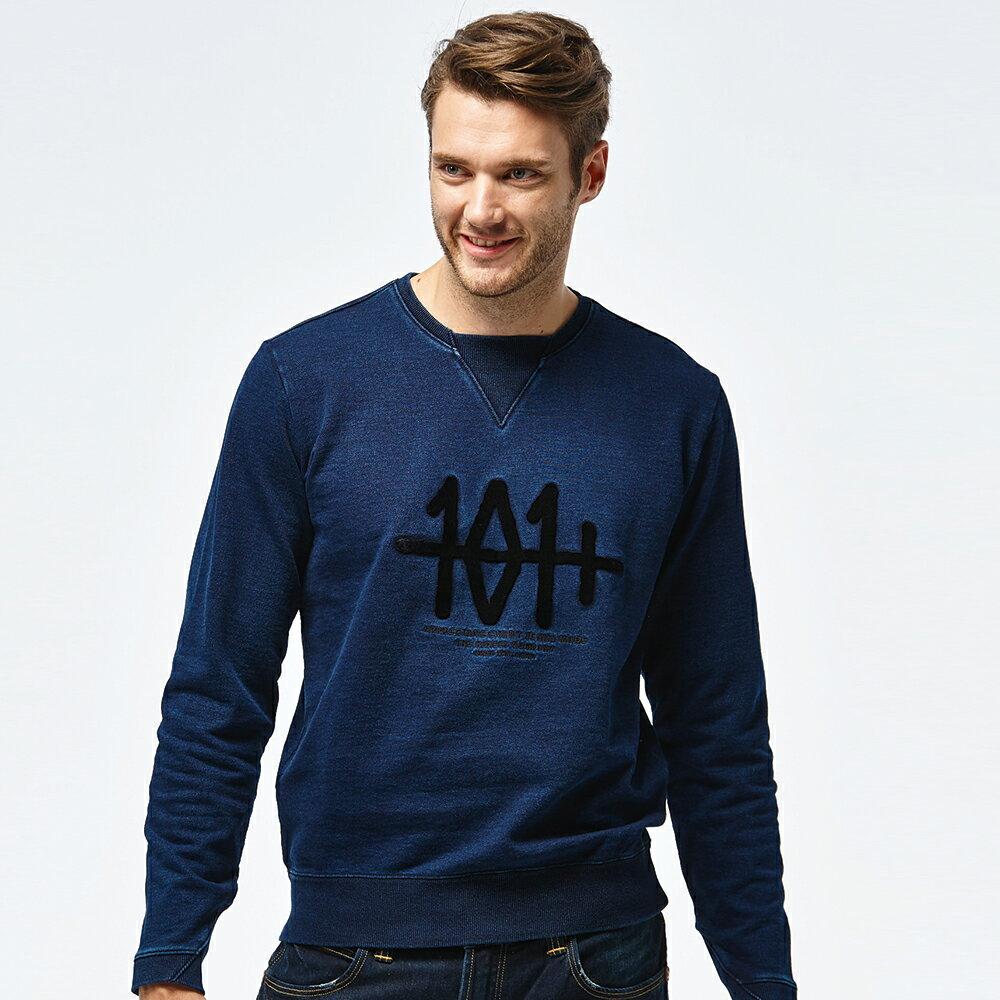 Lee 101+刺繡圓領長袖厚T恤 男款 深藍